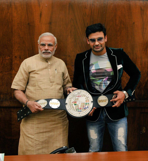 Sangram Singh with PM Narendra Modi in 2015