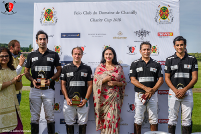 Jaipur's Diya Kumari felicitating polo players at the Nobility for Ability Charity Polo Cup in Paris, France