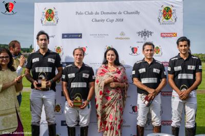 Jaipur's Diya Kumari felicitating polo players at the Nobility for Ability Charity Polo Cup in Paris, France